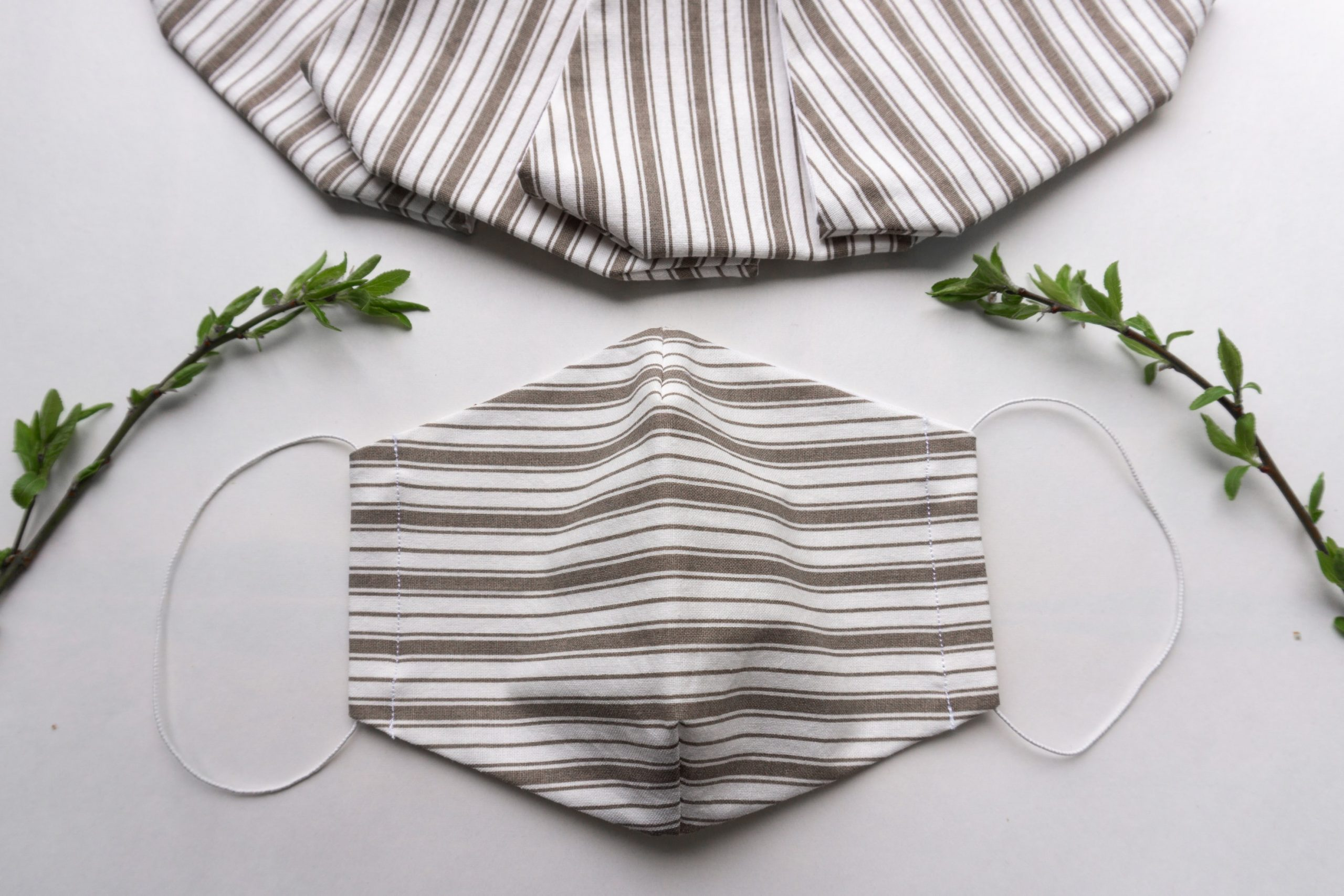 Striped reusable masks on the table